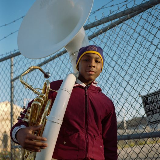 Saint Augustin High School  In New Orleans' high schools, students have to make an early choice between sports and music. Those who choose music dream to become a Jazz star. I met the students from Saint Augustine High School, a military school famous in New Orleans for its brass bands.